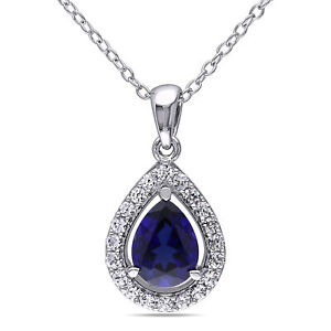 Sterling Silver 2 15 CT Blue and White Sapphire Pendant Drop Necklace 18