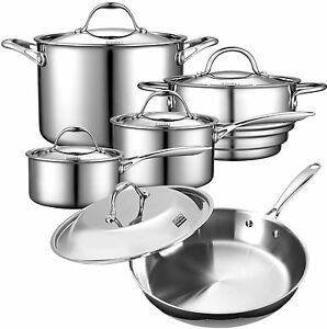 Cooks Standard 10-Piece Multi-Ply Clad Stainless-Steel Cookware Set,NC-00235