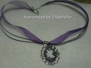 Flower fairy cameo pendant on organza necklace choker