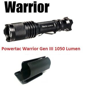 PowerTac Warrior Gen III 1050 Lumens Tactical LED Flashlight Quick Strobe Switch