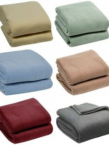 4 SIZES 6 COLORS! Super Soft Plush Blanket Solid Throw- Twin, Full, Queen