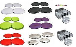 STAINLESS STEEL COLOURED HOB COVERS METAL RING ELECTRIC COOKER HOB PROTECTOR SET GBP 6.90