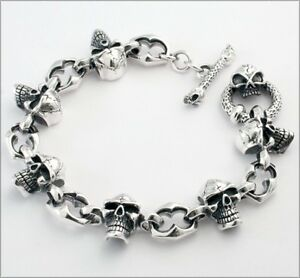 Bracelet sterling silver mens skull rock n roll heavy biker