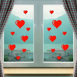 Hearts Window Shop Kitchen Love Art Decorative Vinyl Wall Sticker Decal