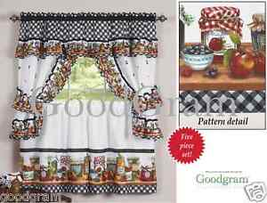 Mason Jars Cottage Style Kitchen Curtain Swag & Tiers Set - Assorted Sizes