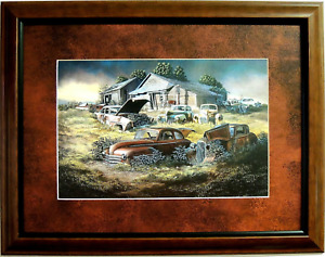 OLD CARS PICTURE  MANY MOPARS OLD SHEVRON GAS PUMP CLASSICS  MATTED FRAMED 12X16