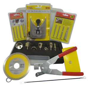 21 piece Tile and Glass Cutting drilling and boring Kit Ceramic Porcelain Marble