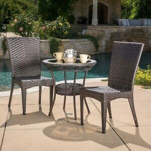 Outdoor Patio Brooklyn 3pc Brown All-Weather Wicker Glass Table Top Bistro Set