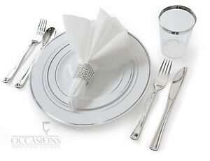 Wedding Disposable Plastic Plates silverware silver rimmed tumblers + Napkins