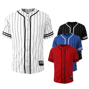 NE PEOPLE Men Light Short Sleeve Button Down Stripe Baseball Jersey Shirt NEMT28