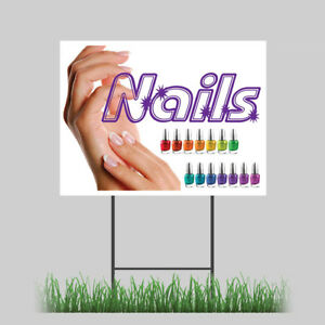 18quot;x24quot; Beauty Spa and Nails Salon Yard Sign with Stake Outdoor Coroplast