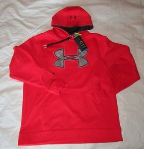 New UNDER ARMOUR Mens Large Red w Gray Camo Logo Loose Fit Pullover Hoodie NWT