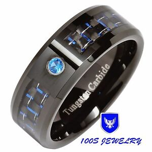 8MM Tungsten Ring Blue Diamond Carbon Fiber Inlay Mens Wedding Band Size 8-14