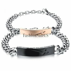 quot;Thank You For Being Beside Mequot; Cross Engraved Couples Stainless Steel Bracelet