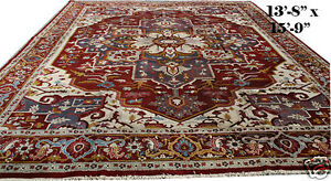 An Interesting Antique 14' x 16' Indian Agra Rug With Persian Serapi Design