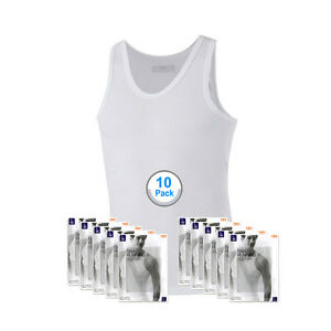 SBW Try Underwear Mens Crew Basic Sleeveless TankTop Running Shirts White 10Pack