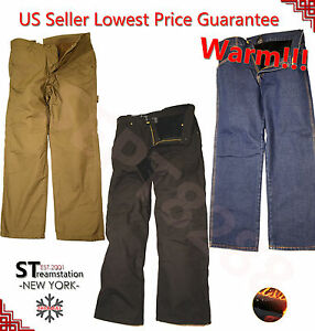 Mens Winter Cotton Fleece Lined Carpenter Pants with Pockets Straight Cut Fit $27.99
