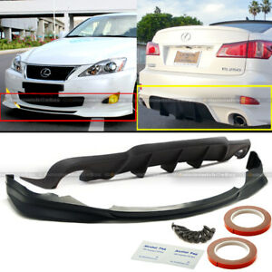 For 06-08 IS250 IS350 F Sport Style PU Front Lip & Rear Diffuser Bumper Body Kit