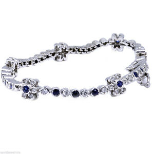 2.00 Carat Diamond Bracelet and Blue Sapphire 14k White Gold 7.5