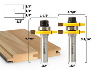 Tongue and Groove Router Bit Set Up to 3/4 Inch Stock 1/2