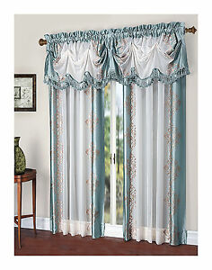 Danbury Embroidered Window Curtain amp; Valance Treatments Assorted Colors