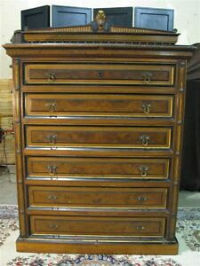 1880's Aesthetic Style 6 Drawer Chest w Egyptian Revival Details Herter Brothers