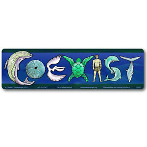 CM036 Coexist with Sea Life Color Mini Bumper Sticker