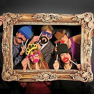 Photo Booth Props With Frame Hat Mustache Wedding Birthday Holiday Party Fun