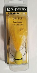 Superfly Dry Fly Foam Popper Fishing Lure Size 02 Yellow  Olive Bass