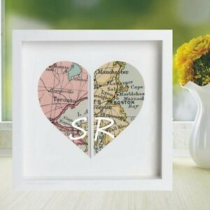 Vintage Map Framed Heart Print Displaying 2 Locations - REAL GLASS - Ideal Gift