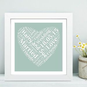 Framed Wedding Heart Word Cloud - REAL GLASS - Ideal Gift for the Bride