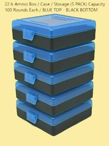 22 lr Ammo Box  Case  Storage (5 PACK) Capacity 100  (NO AMMO) BLUE COLOR