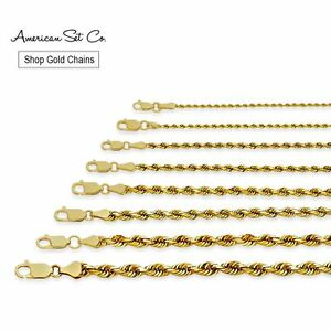 14K SOLID YELLOW GOLD MEN'S WOMEN ROPE CHAIN NECKLACE PENDANT