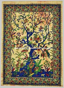 Tree of Life Tapestry Wall Hanging Indian Peacock Bohemian Decor Beach Throw Art