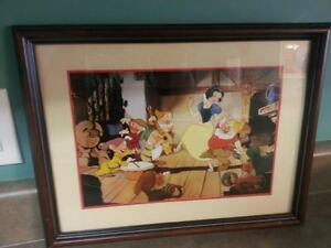 1994 Framed Disney Commemorative Lithograph Snow White and 7 Dwarves