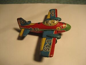japan tin litho friction airplane b 45 toy works