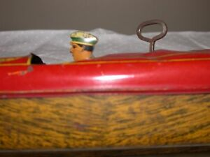 flyer speedboat tin friction wind up toy boat