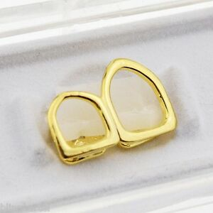 Open Face Double Tooth Grillz 14k Gold Plated Top Two Right Canine Teeth Caps $12.99