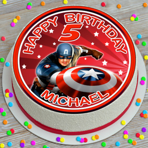 CAPTAIN AMERICA PRECUT PERSONALISED 7.5 INCH ROUND EDIBLE CAKE TOPPER G