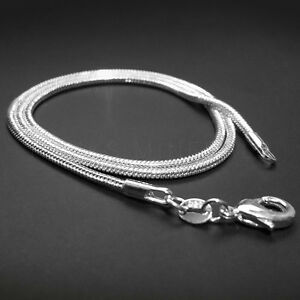 1mm 2mm 925 Sterling Silver Plated Snake Chain Necklace 16quot; 18quot; 20quot; 22quot; 24quot;