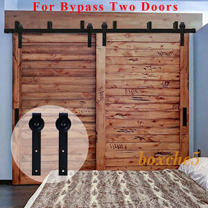 4ft-16ft Sliding Barn Door Hardware Kit Closet Rail Roller Set Bypass Two Doors