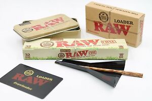 Raw King SIze Organic Cone Bundle: 1 32 count Box  of Cones+ Raw Loader+Raw Tin