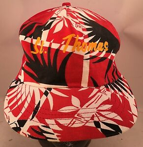 St. Thomas Red Floral Tropical Themed Rope Front Snapback Trucker Hat
