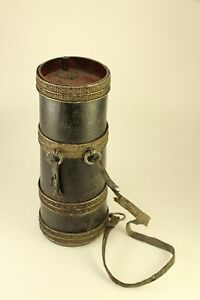 Antique Cannon Keg Gun Black Powder Flask Holder Chinese Asian Barrel Canister