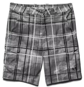 Under Armour UA Fish Hunter Men's - GraphiteBlack -Plaid Cargo Shorts - Size 34