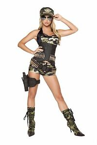 Roma Army Babe Camo Military Combat Cincher w Bullet Detail Deluxe Costume 4332