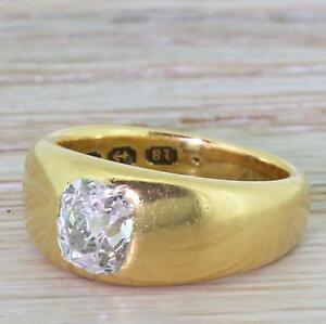 MID CENTURY 1.00ct OLD CUT DIAMOND SOLITAIRE RING - 18k Gold - ENGLISH 1944