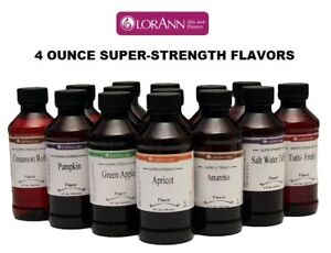 LorAnn 4 oz Super Strength Flavoring Oils Flavor Extracts Four Ounce Bottles