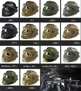 Airsoft Paintball Jump Tactical Fast Helmet wProtective Mask Googles