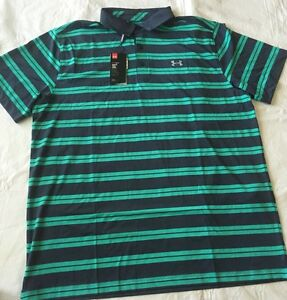 New Mens UNDER ARMOUR 2XL Navy Blue & Green Striped Golf Polo Loose Fit NWT